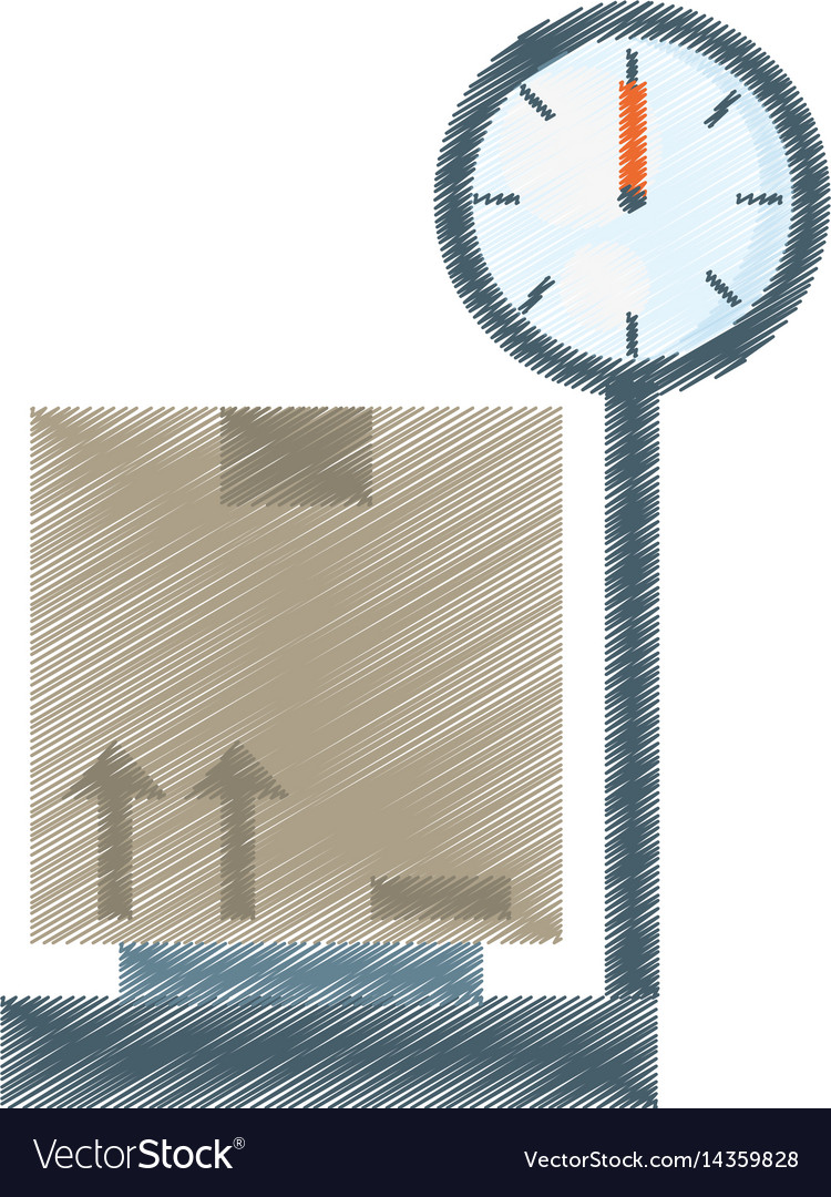 Drawing delivery weight scale boxes vector image
