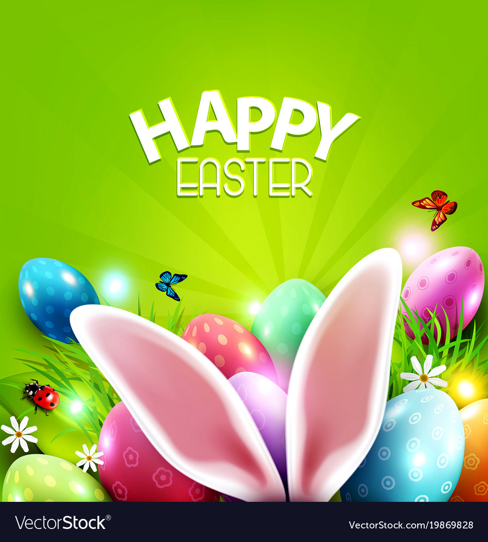 Easter Greeting Card With Hare Ears Royalty Free Vector
