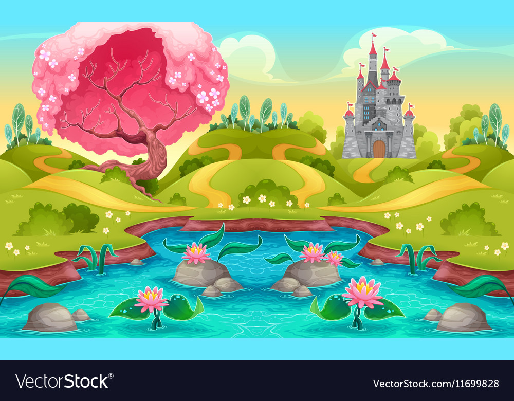 Fantasy landscape with castle in the countryside vector image