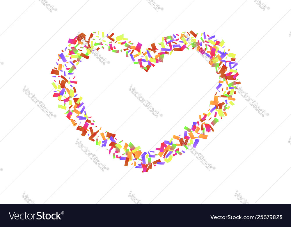 Heart confetti isolated white background fall