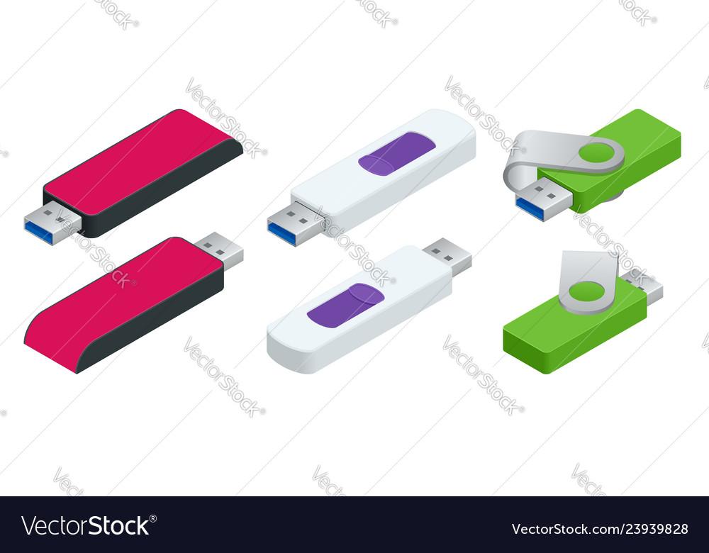 Isometric set of usb flash drives usb memory