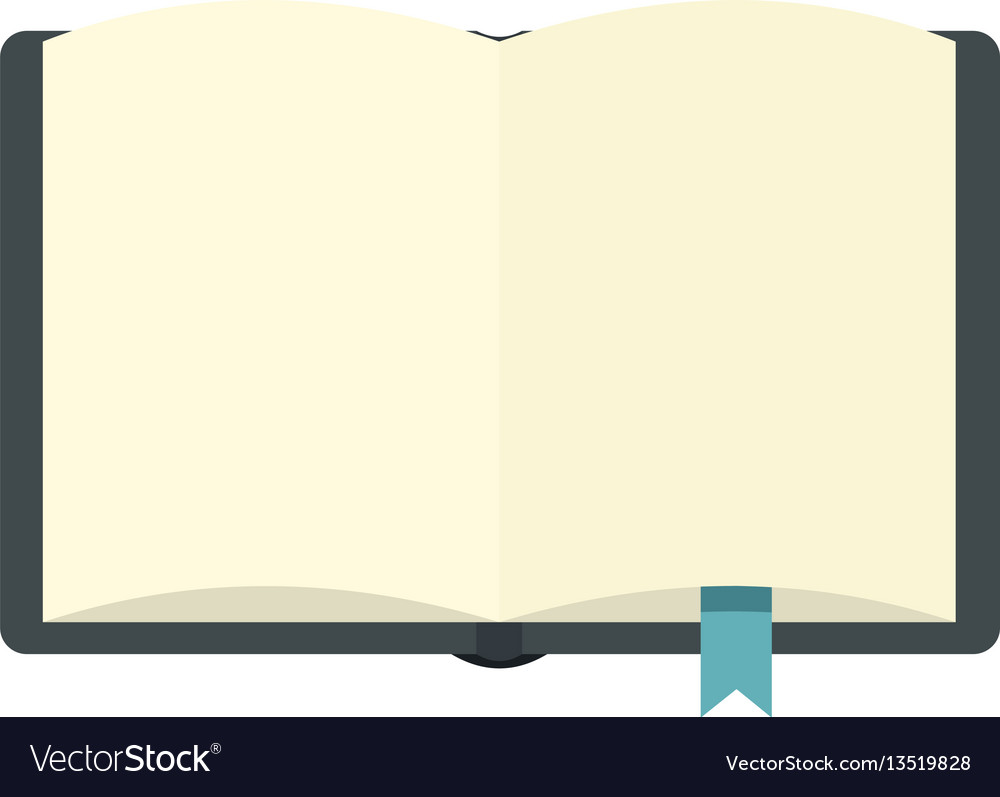 Open book with bookmark icon flat style