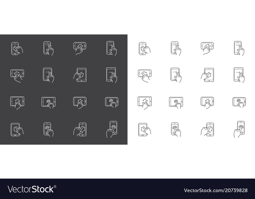 Set of icons with hands holding smart device with