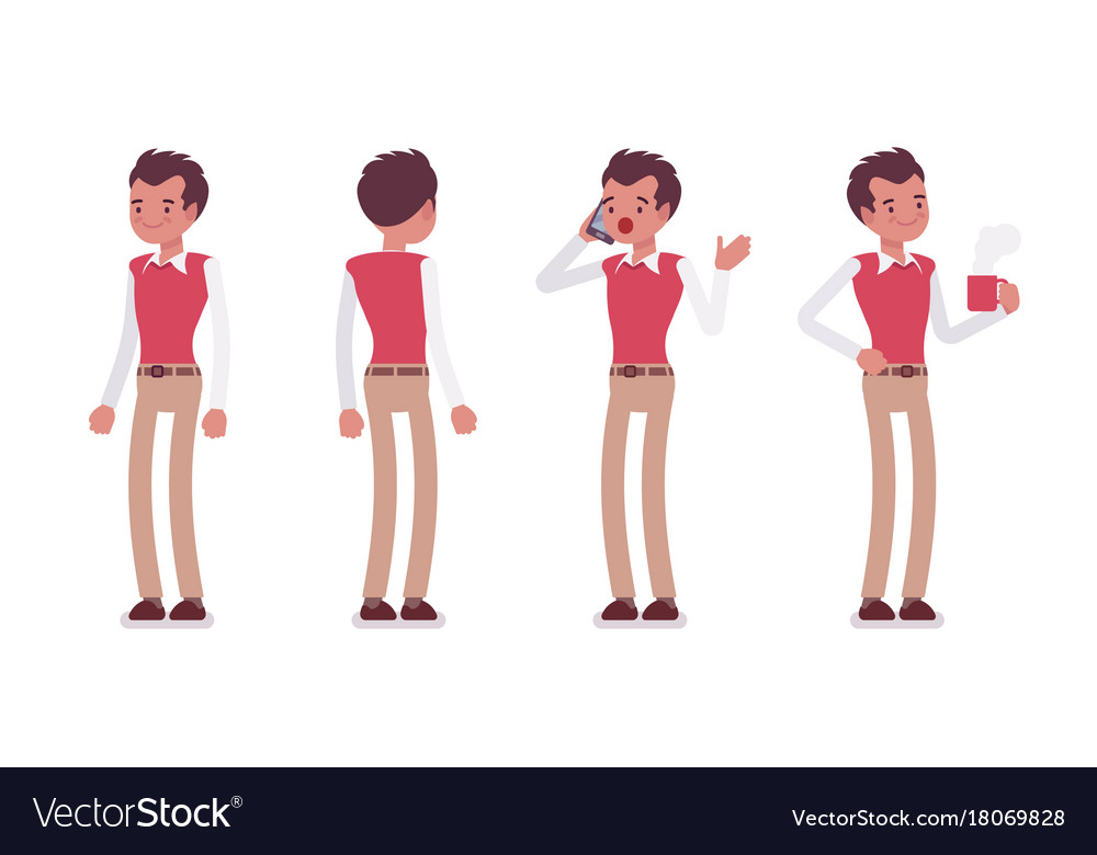 Set of young male office worker in standing poses