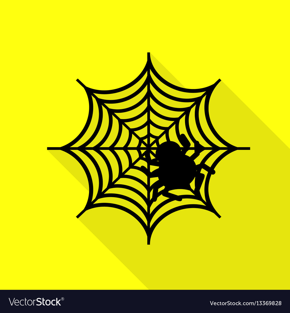 Spider on web black icon with flat