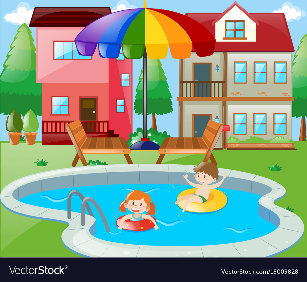 Two Kids Swimming In Backyard Royalty Free Vector Image