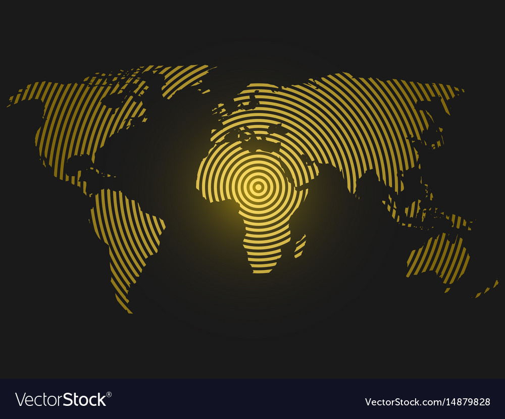 World map of yellow concentric rings on dark grey vector image gumiabroncs Image collections