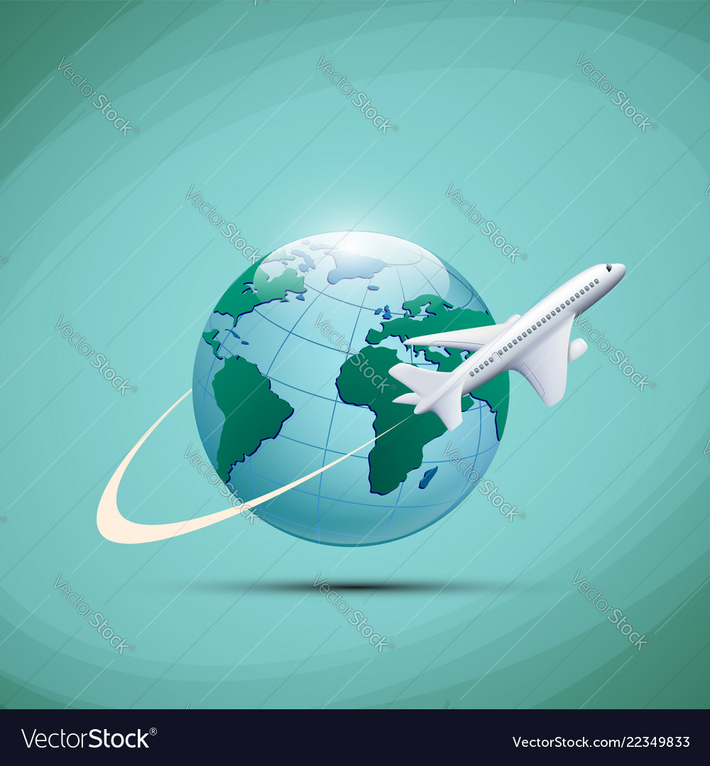 Airplane flies around the earth planet