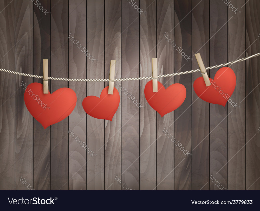 Background with red hearts on wooden texture vector image