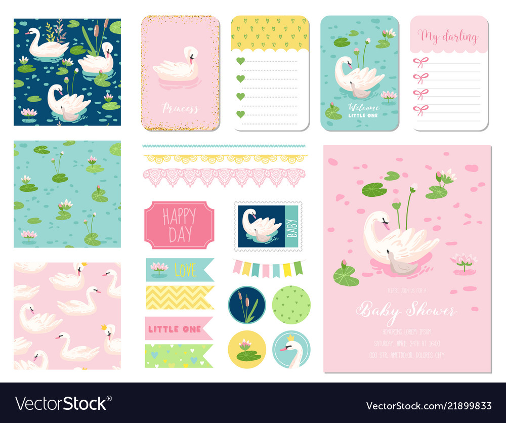 Beautiful swans baby shower scrapbook set