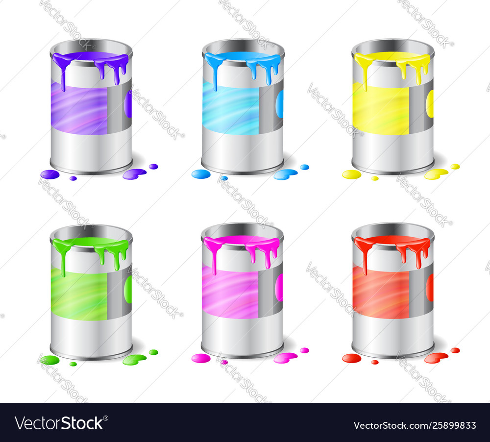 Big set open metal paint cans with color paint