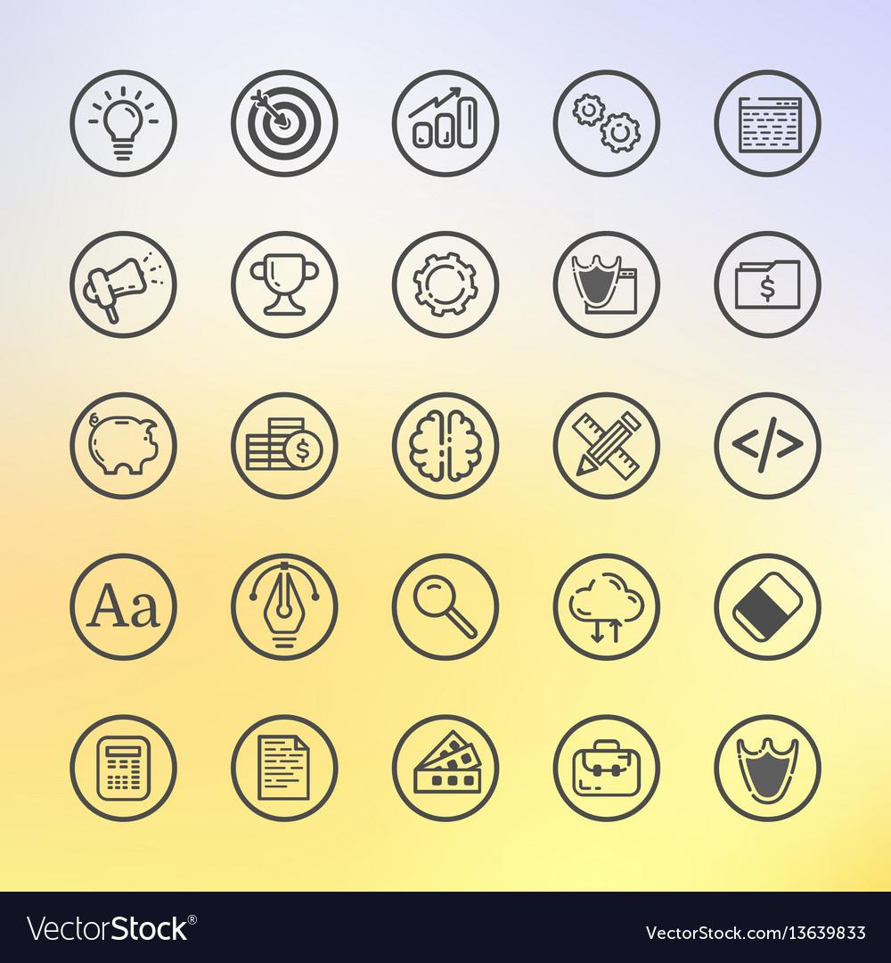 Flat line set icon graphic