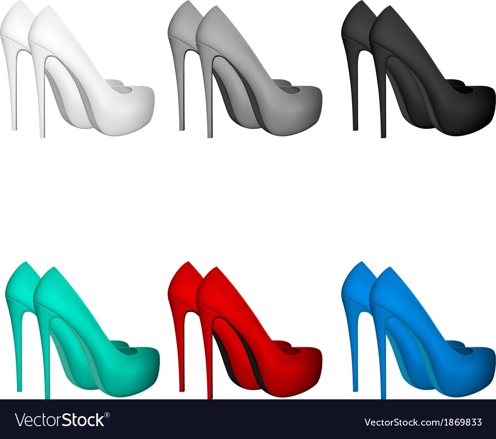 High-heeled blank shoes template