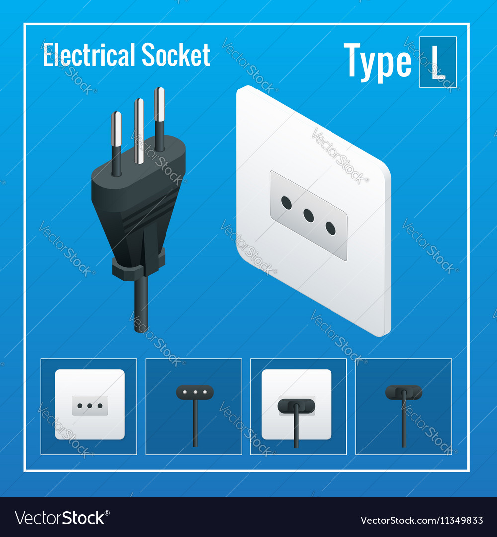 Isometric Switches and sockets set Type L AC