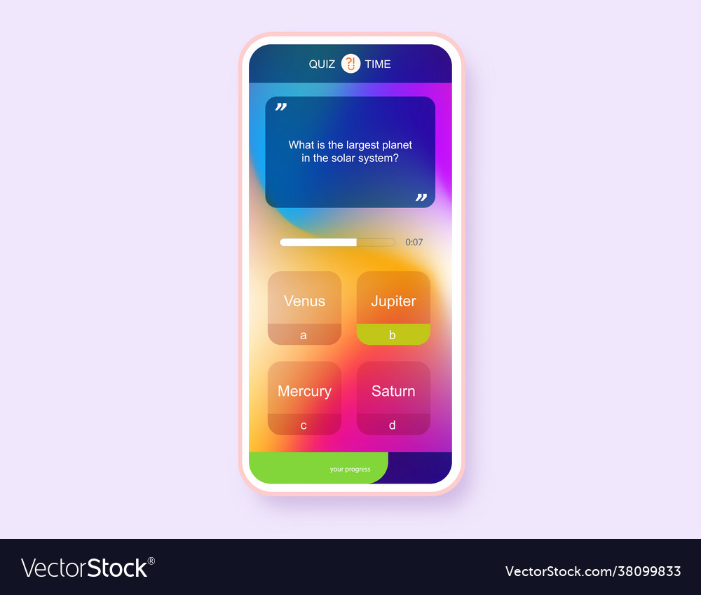 Mobile app question and answers modern gradient