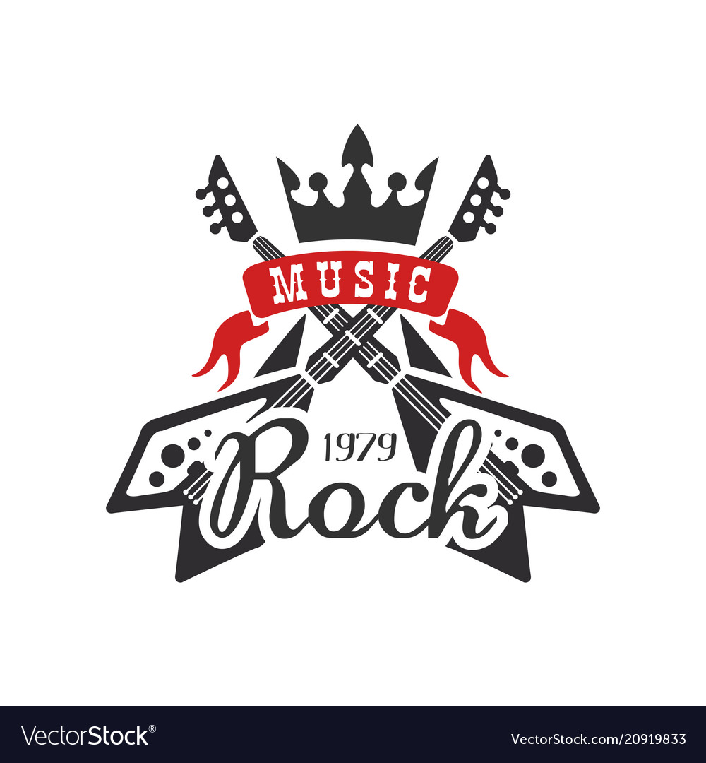 Rock music est 1979 logo design element with