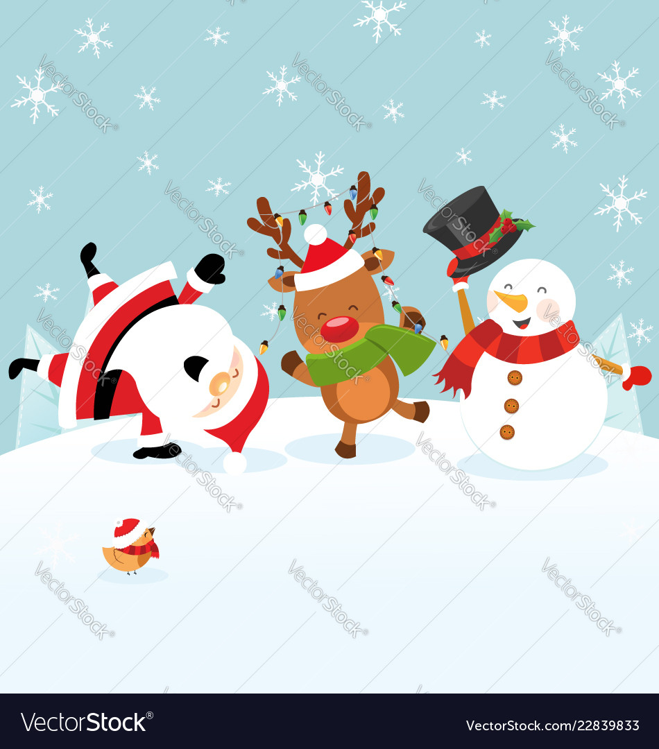 Santa reindeer snowman celebrating christmas