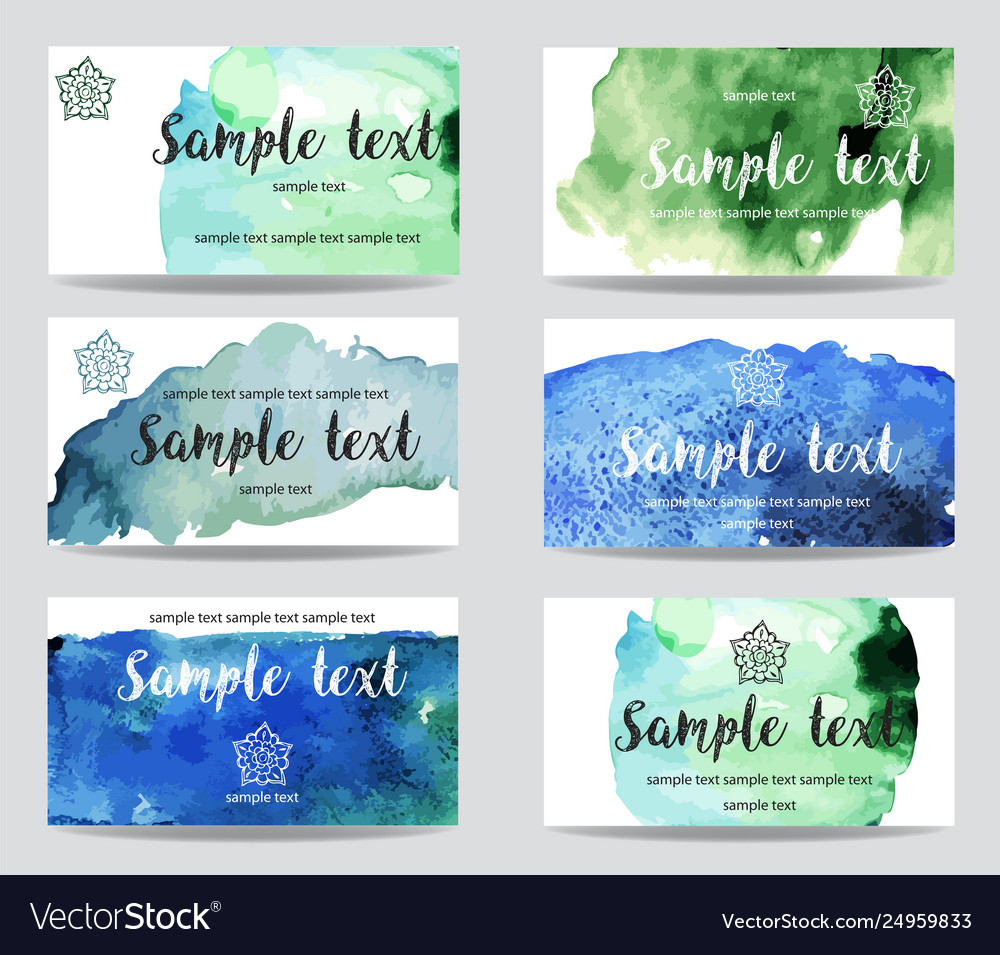 Set cards with watercolor paint background