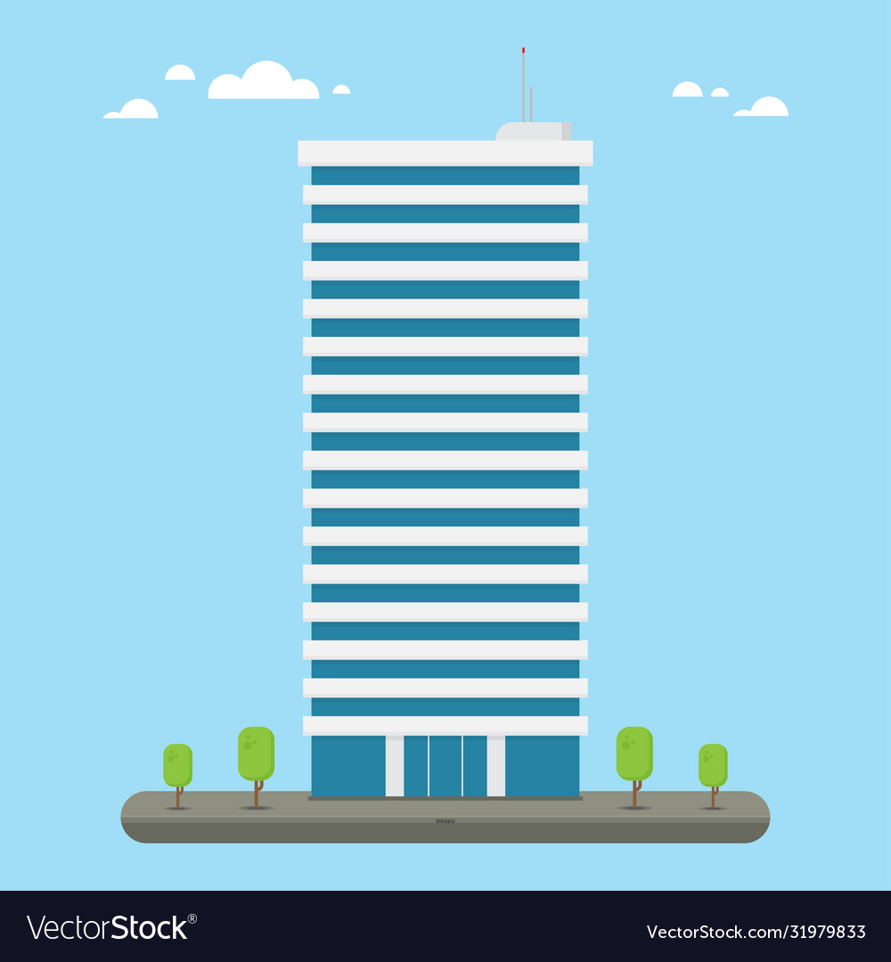 Skyscraper business company building in flat style