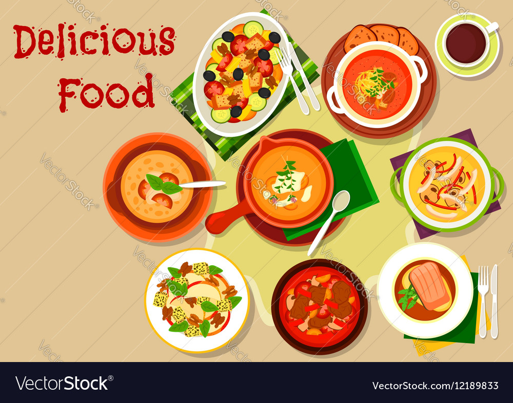Soup salad dishes icon for restaurant menu design