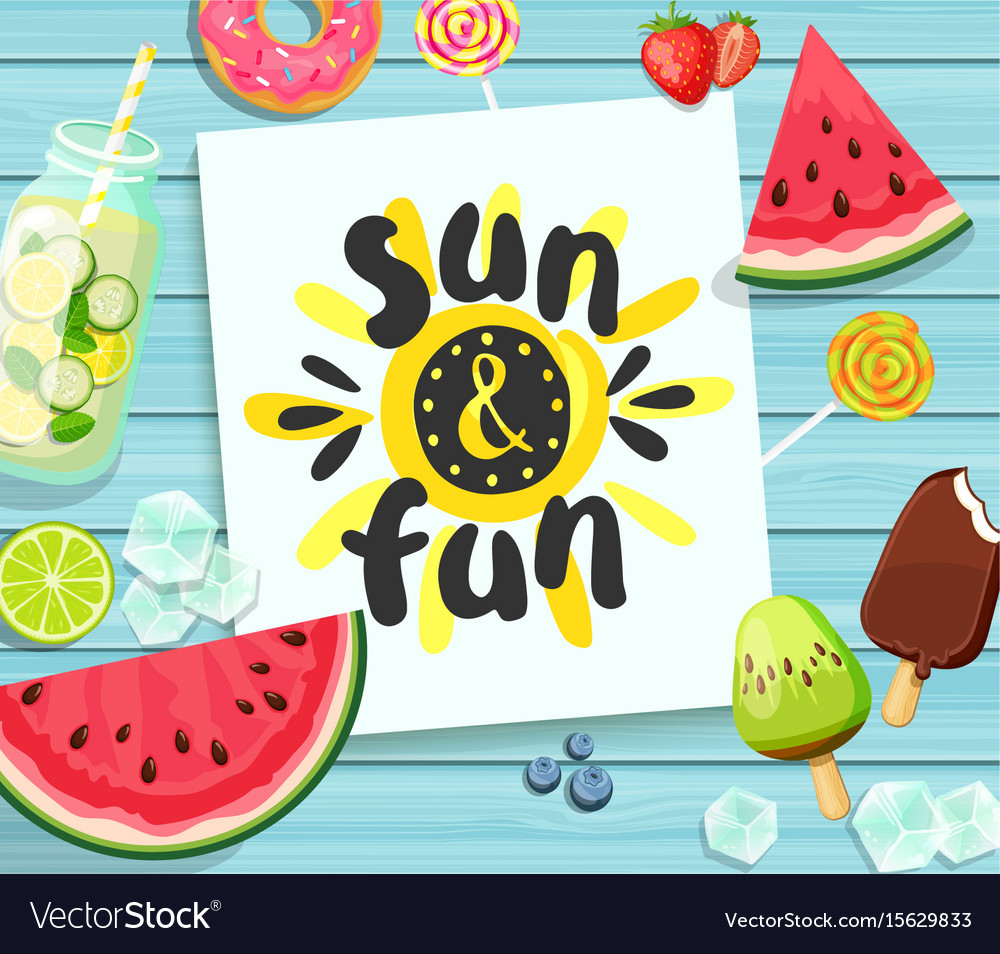 Sun and fun card on blue wooden background