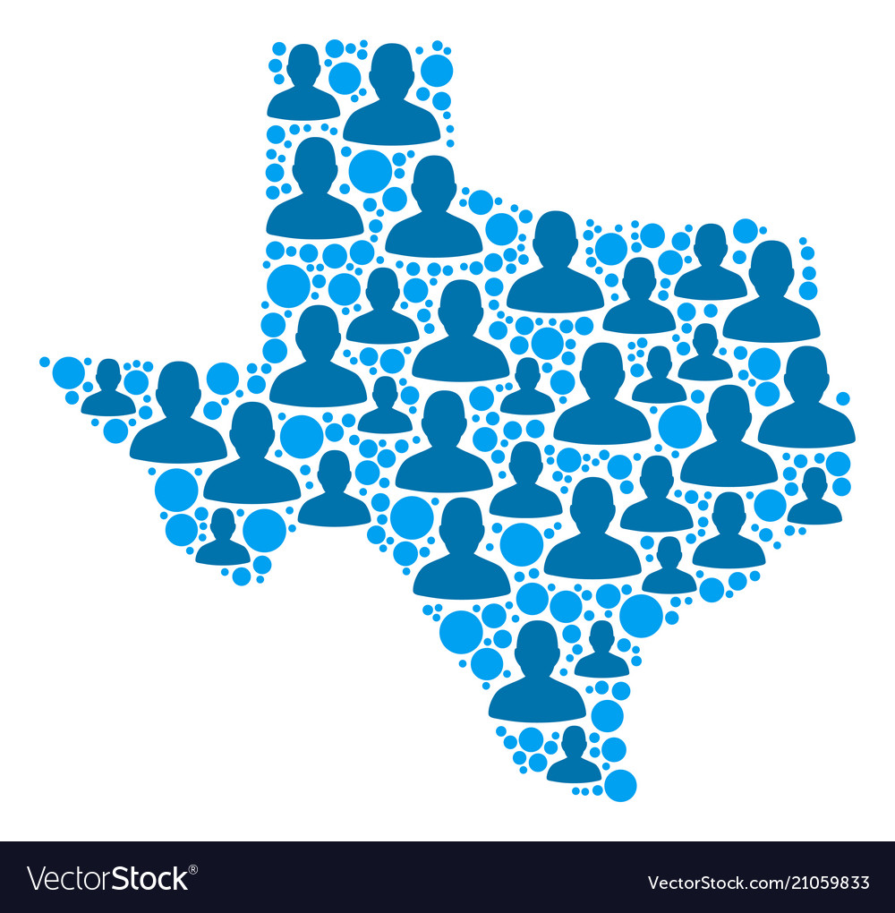 Population Map Of Texas.Texas Map Population Demographics Royalty Free Vector Image