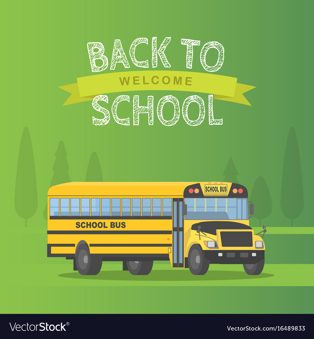 Yellow schoolbus isolated on green background