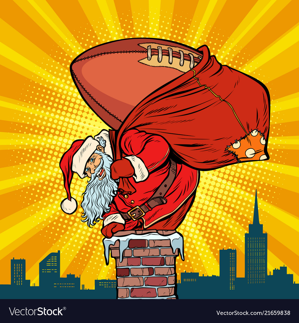 American football ball santa claus with gifts