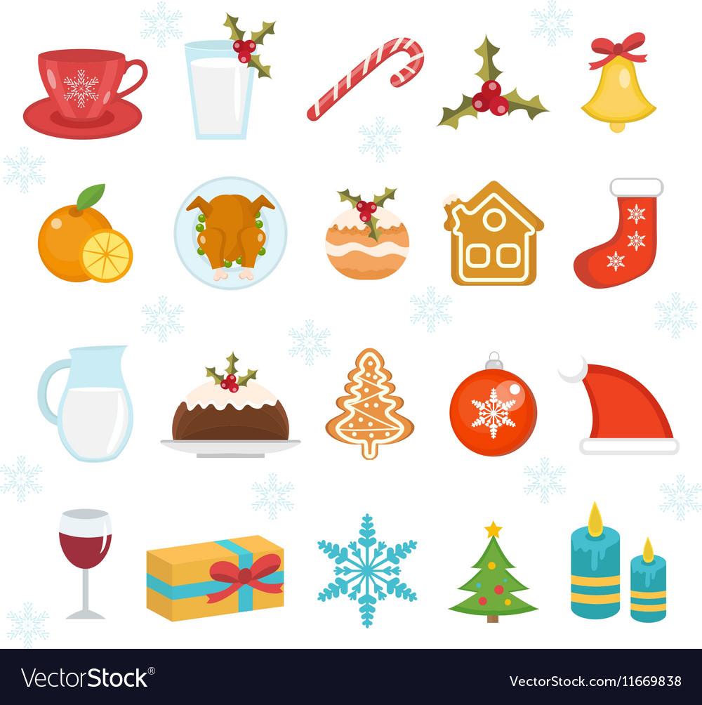 Christmas icons set Set of traditional christmas
