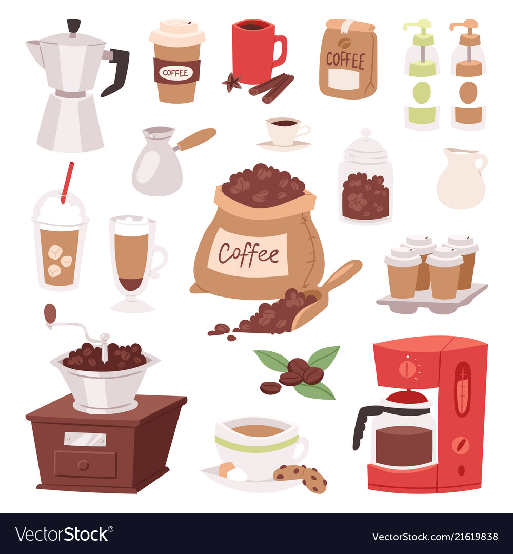 Coffee drink cartoon pot devices and morning
