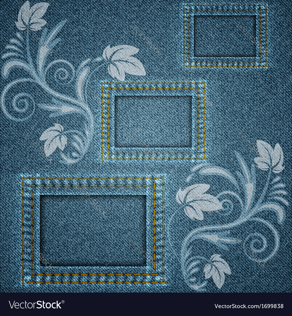 Denim blue background with three square frames vector image