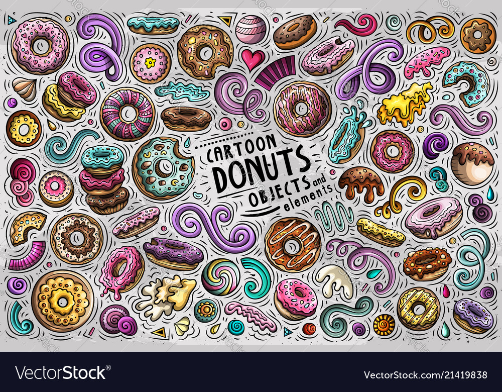 Doodle cartoon set of donuts objects and