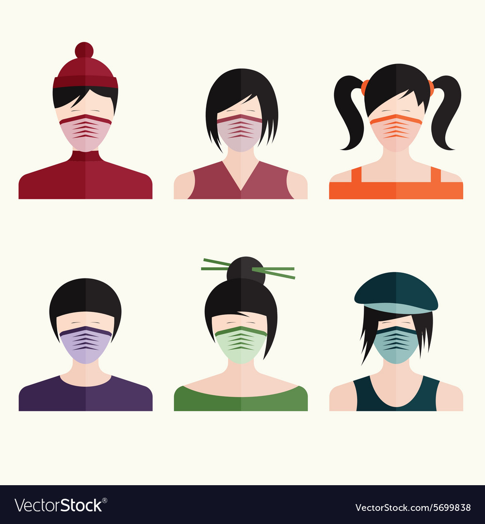 Flat design set japanese girls in medical masks