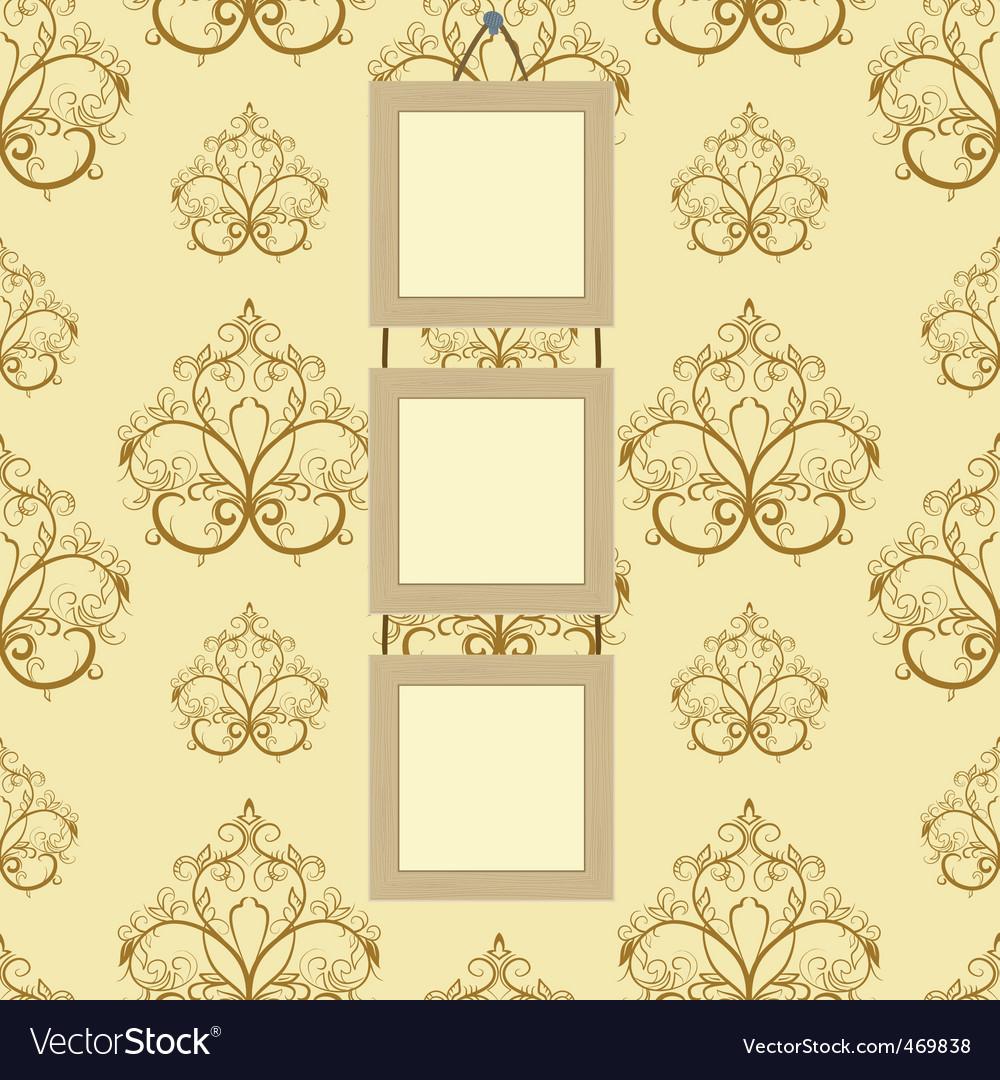 Framework for photos on wallpaper vector image