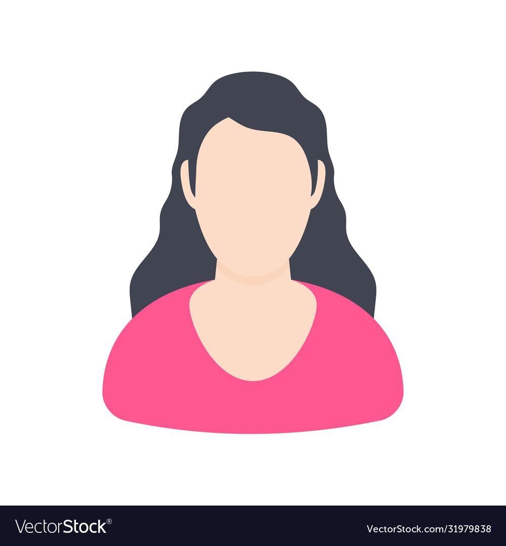 Girl user avatars on a white background