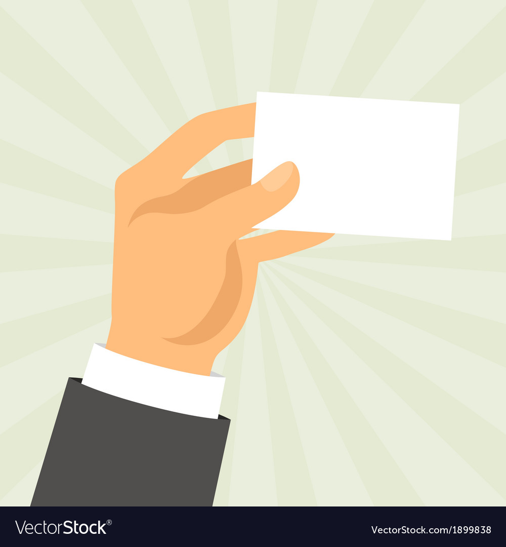 Hand holding business card in flat design style Vector Image