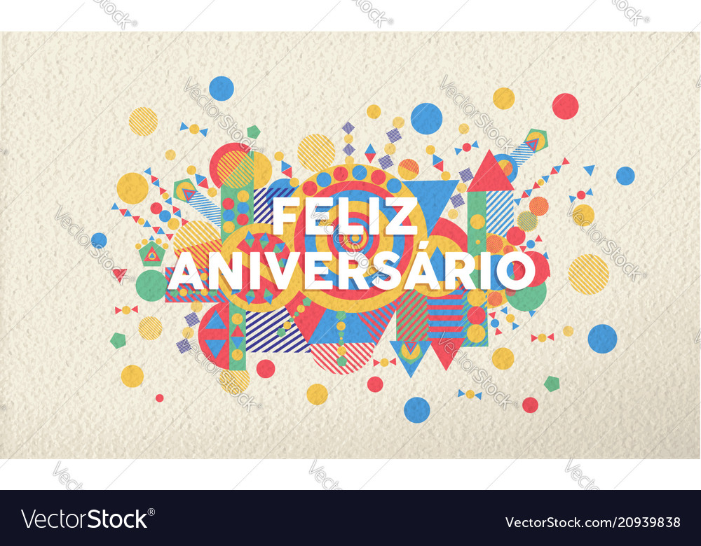 Happy Birthday Card In Portuguese Language Vector Image