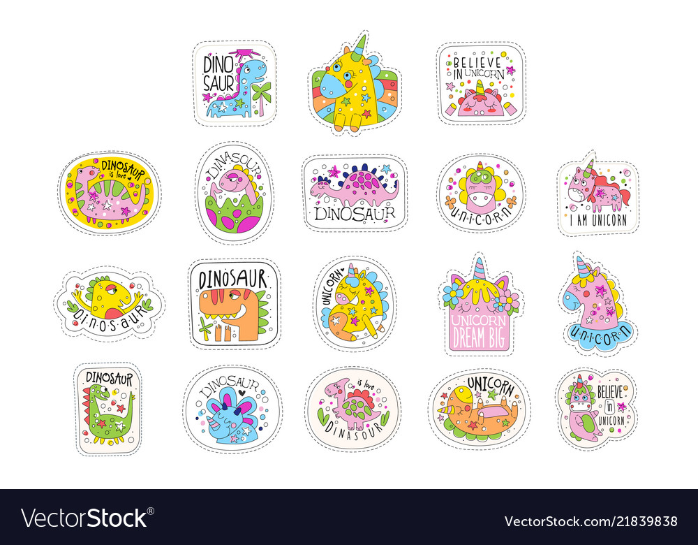 Lovely unicorn patches set trendy colorful
