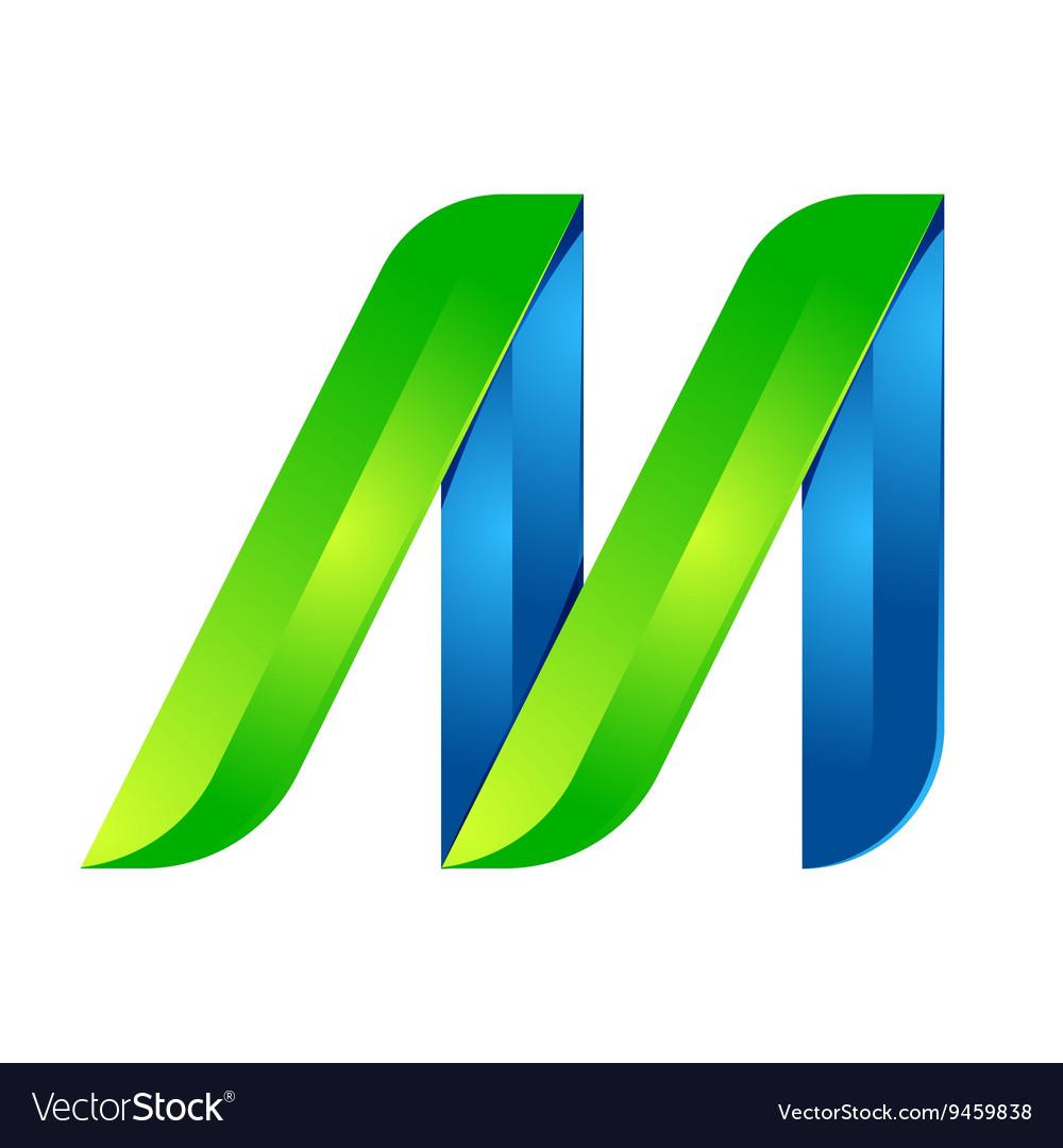 M letter leaves eco logo volume icon
