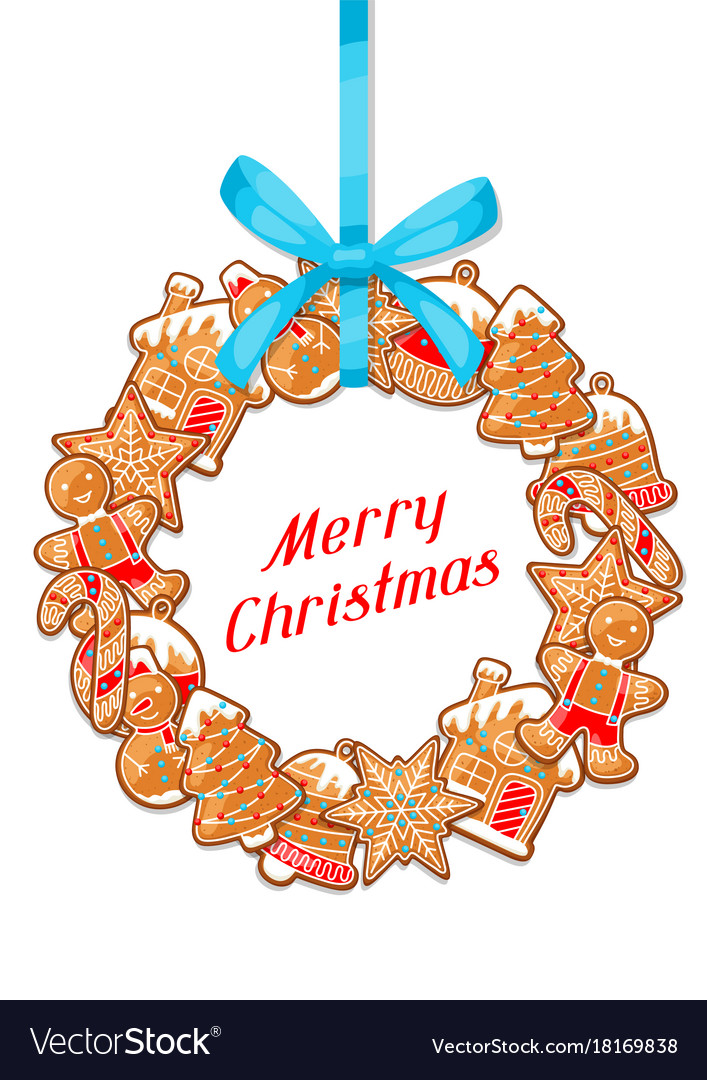 Merry christmas greeting card with wreath of