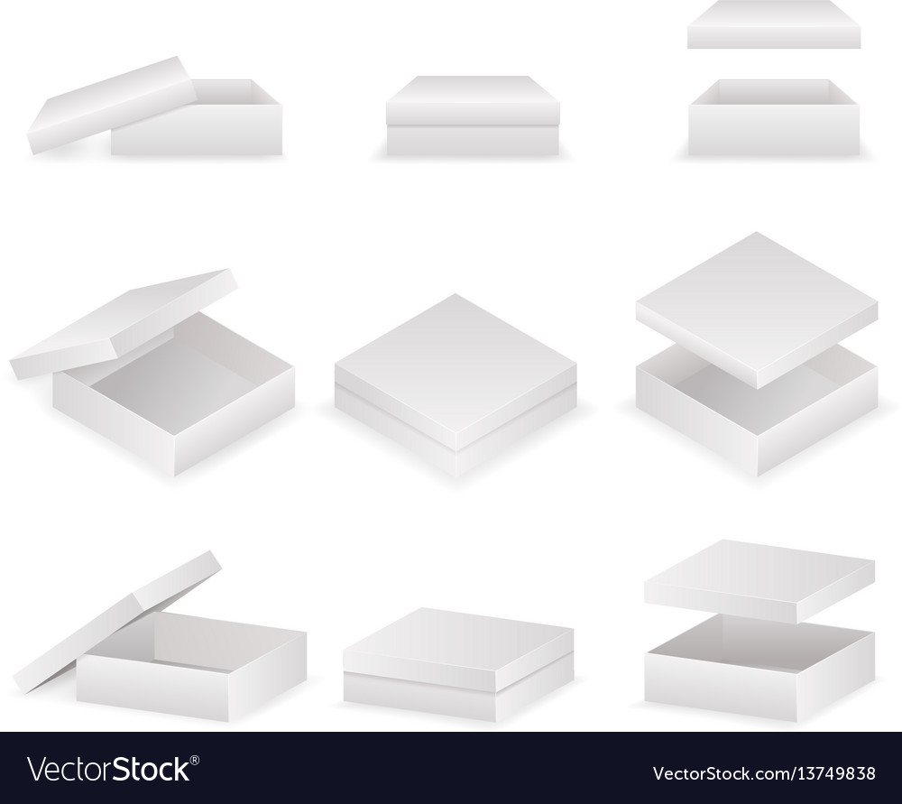 Paper boxes with lids set open and closed pack vector image