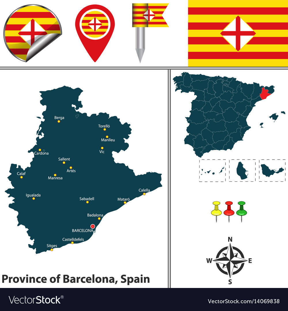 Map Of Spain By Province.Province Of Barcelona Spain Royalty Free Vector Image