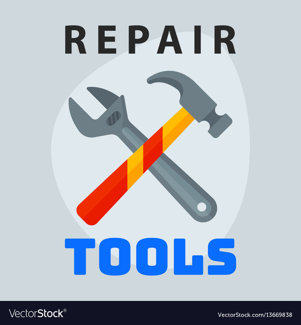 Repair tools hammer wrench icon creative graphic