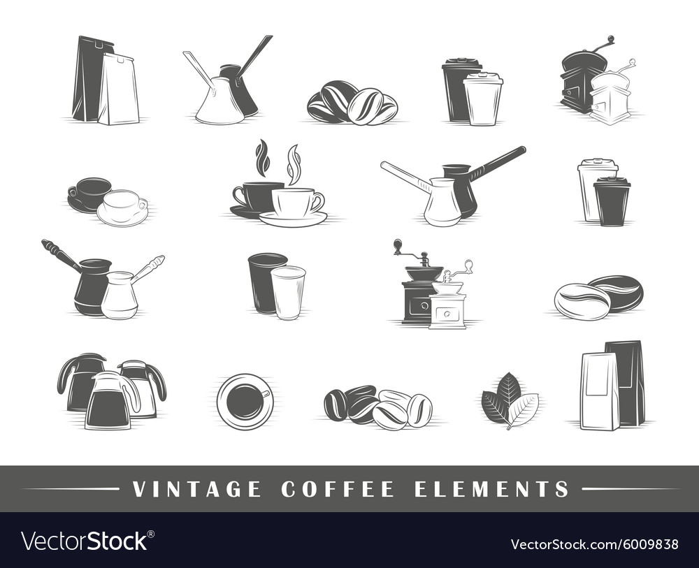 Retro coffee elements vector image