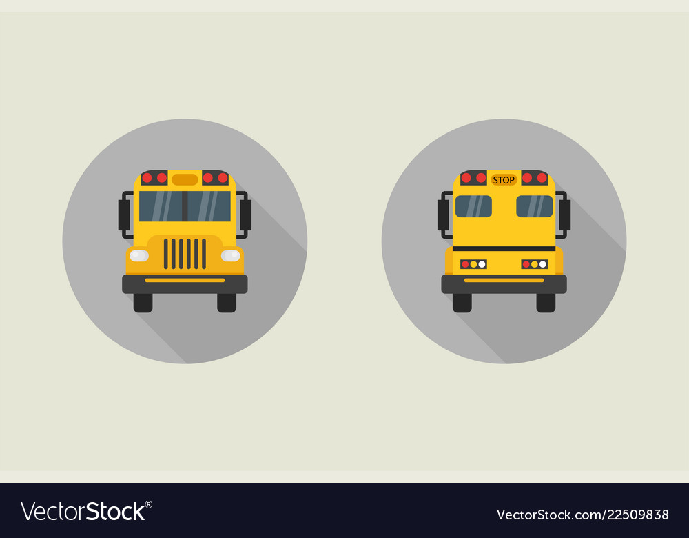 School bus icon in flat style