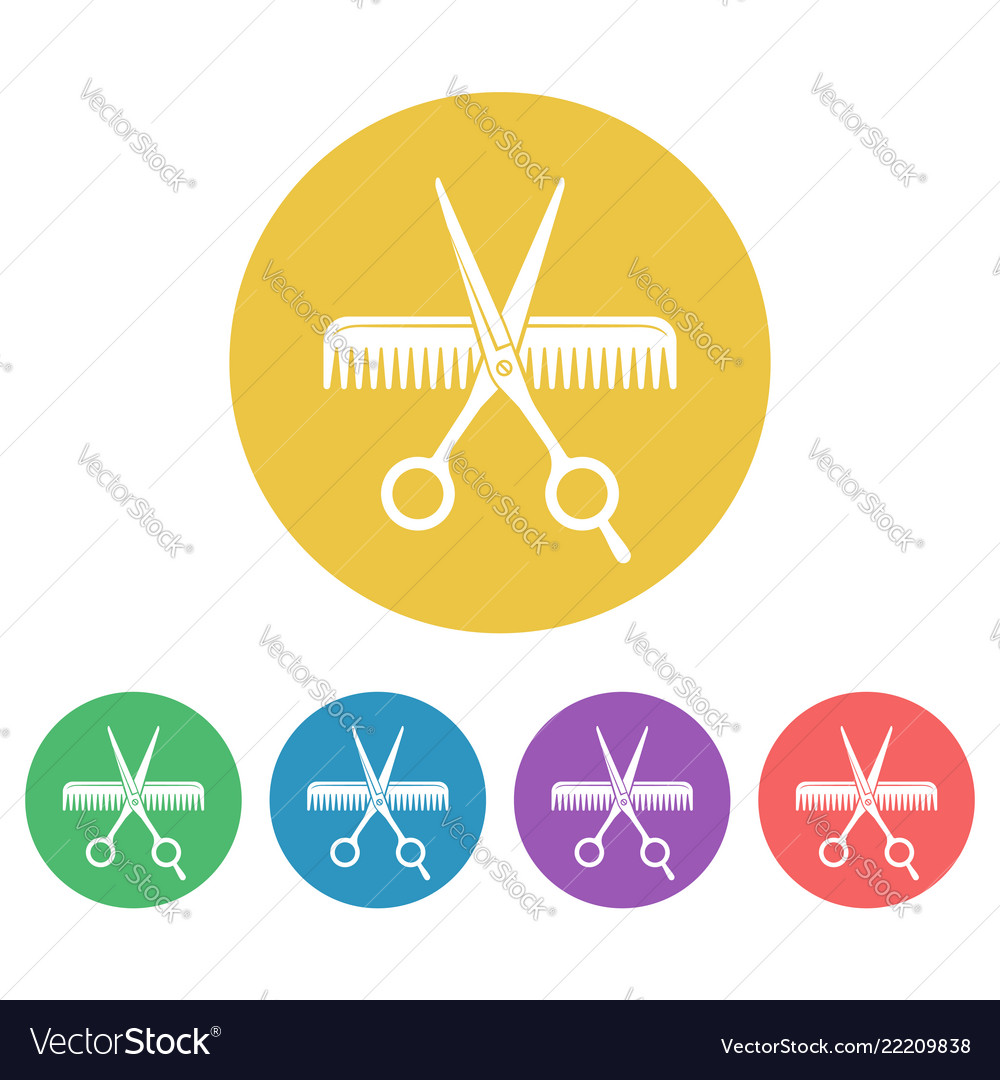 Scissors and comb colored round icons