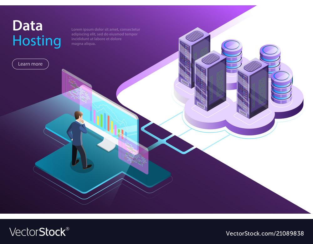 Server hosting flat isometric concept