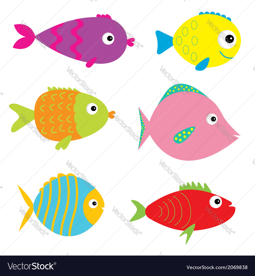 set of cute cartoon fishes isolated royalty free vector rh vectorstock com cute cartoon fish gif cute cartoon fish with big eyes