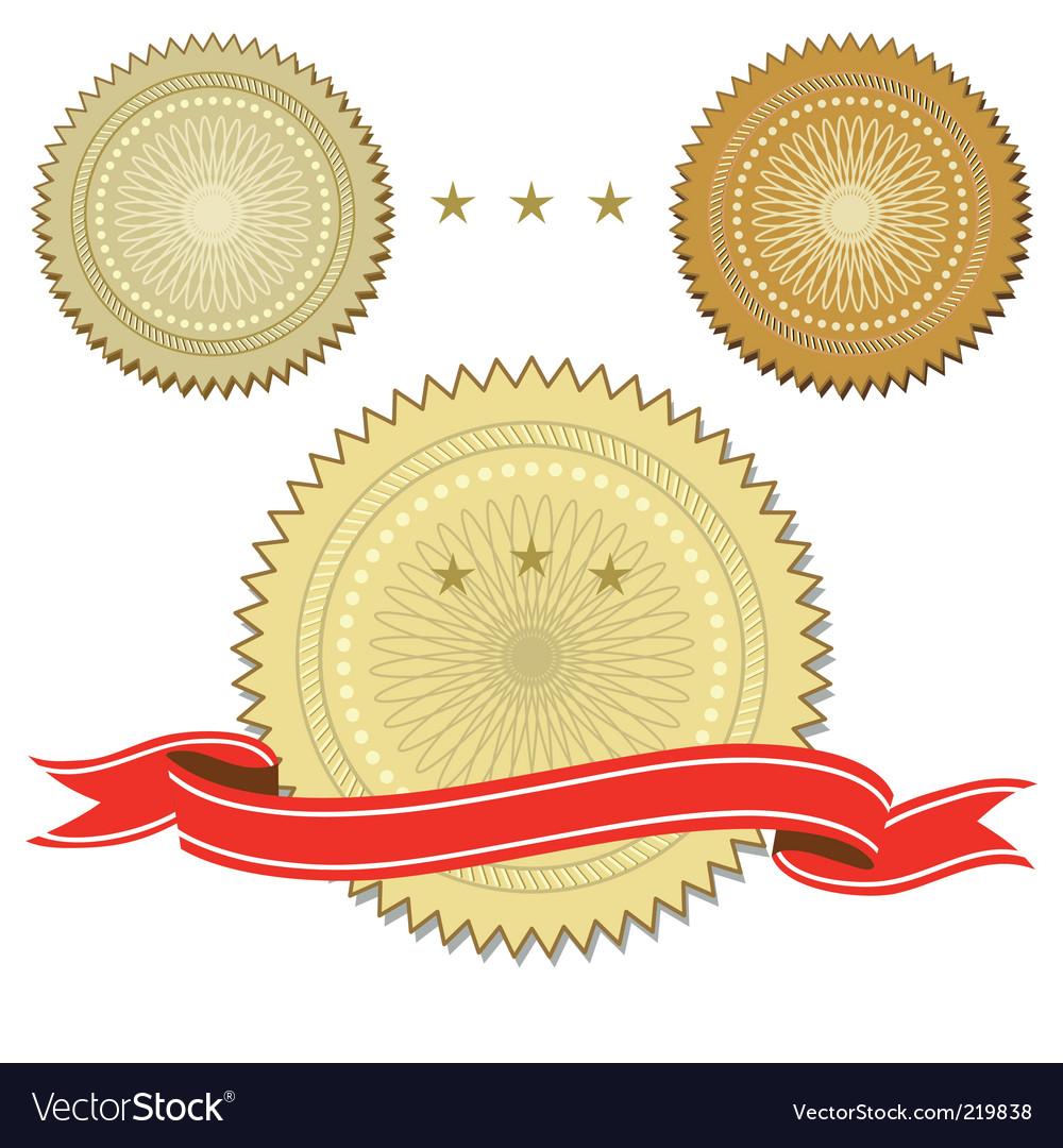 Set of seals with ribbon vector image