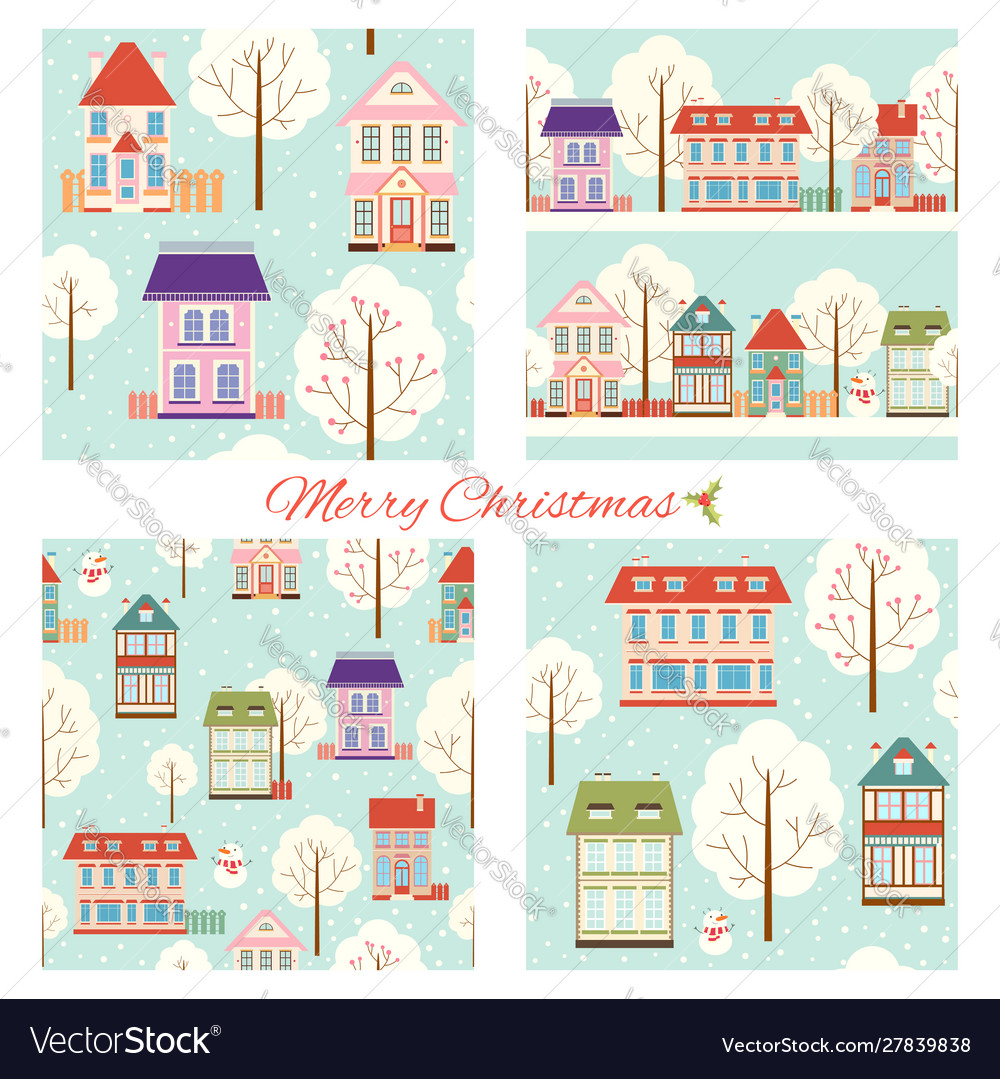 Set seamless christmas patterns with cute